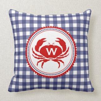 Blue Gingham & Crab Monogram Pillow