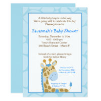 Blue Giraffe Boy Baby Shower Invitation