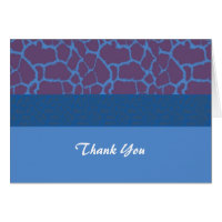 Blue Giraffe Fur Pattern Thank You Card