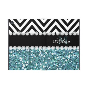 BLUE GLITTER BLACK CHEVRON MONOGRAMMED iPad MINI COVER