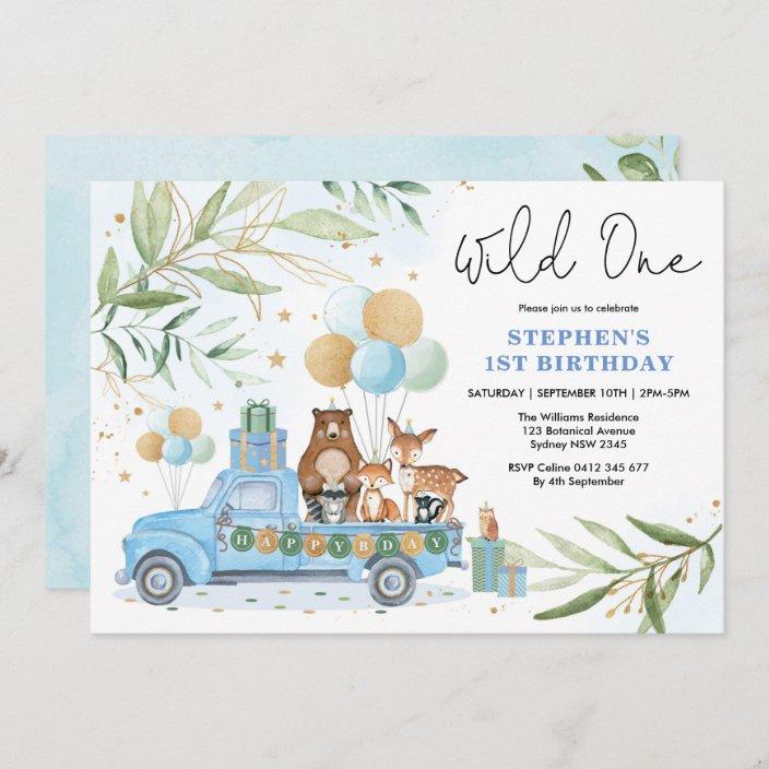 blue gold greenery woodland wild one 1st birthday invitation zazzle com