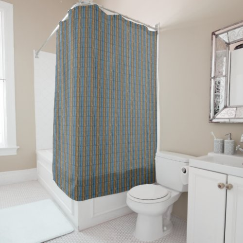 Blue Gray Tan Stripes Shower Curtain