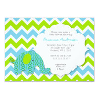 Blue Green Elephant Boy Baby Shower Invite
