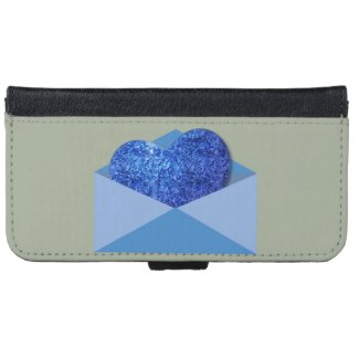 Blue, Heart in the Mail, iPhone 6 Wallet Cover