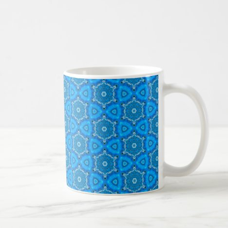 Blue Hexagon Snowflake Quilt Coffee Mug