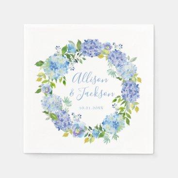 Blue Hydrangea Floral Wedding Paper Napkin