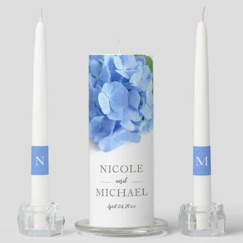 Blue Hydrangea Floral Wedding Unity Candle Set