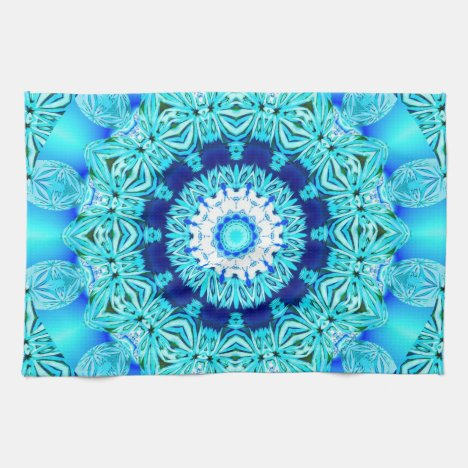 Blue Ice Angel Ring, Abstract Mandala Hand Towel