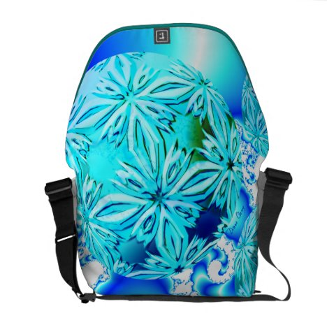 Blue Ice Crystals, Abstract Aqua Azure Cyan Spiral Messenger Bag