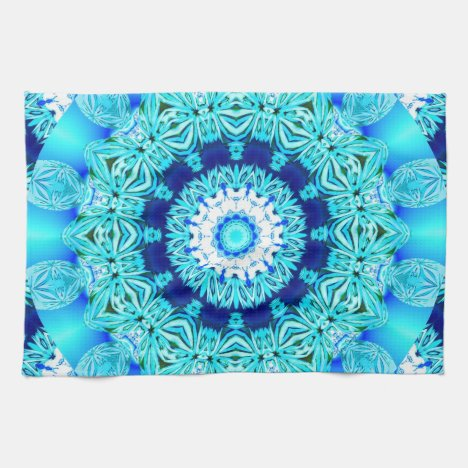 Blue Ice Lace Doily, Abstract Aqua Kitchen Towel