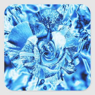 Blue Ice Rose Photo Edit Square Stickers