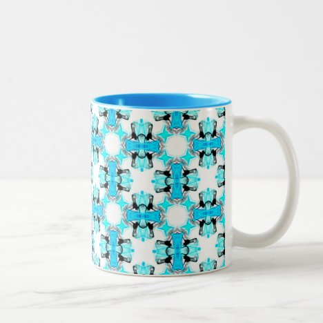 Blue Ice Stars Aqua Modern Abstract Lattice Two-Tone Coffee Mug