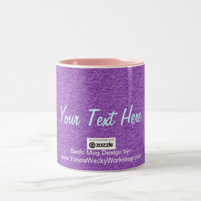 Blue Jean Material, Your Text Here Two-Tone Coffee Mug