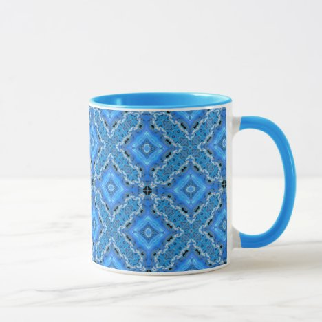 Blue Lace, Crosses, Diamonds Quilt Mug