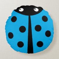 Blue Ladybug Round Throw Pillow