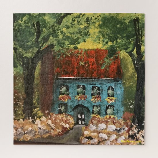 Blue Mansion in a Garden In the Woods Jigsaw Puzzle