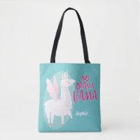 Blue No Drama Llama | Unicorn Llama Personalized Tote Bag