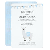 Blue & Off-White Gender Neutral Llama Baby Shower Card