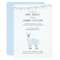Blue & Off-White Gender Neutral Llama Baby Shower Card