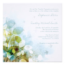 Blue olive green foliage birds wedding invitation