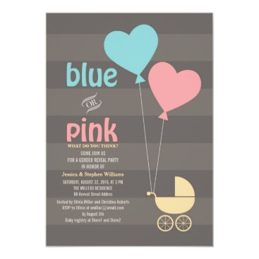 Blue or Pink Grey Baby Gender Reveal Party Invite
