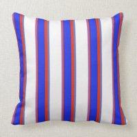 Blue, Orange, and White Stripes Pillow   Zazzle