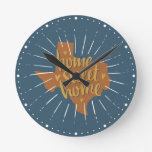 Blue, Orange, Gold Home Sweet Home - Texas Round Clock