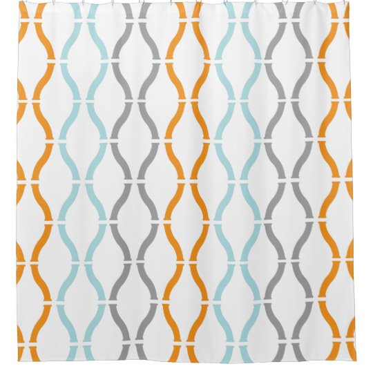 Blue Orange Amp Gray Modern Geometric Funky Pattern Shower Curtain