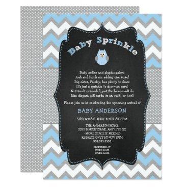Blue Owl baby sprinkle, boy baby shower invitation