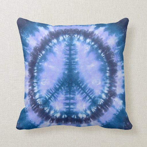 Blue peace tie dye throw pillow  Zazzle