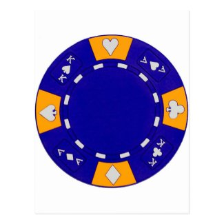 Blue Poker Chip Post Card