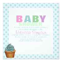 Blue Polka Dot & Cupcake Baby Shower Invitation