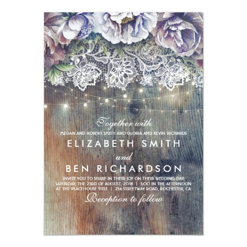Blue Purple and Plum Vintage Floral Lace Wedding Invitation