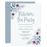Blue purple floral Kitchen Tea Party Invitation