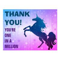 Blue Purple Magical Unicorn Thank You Postcard