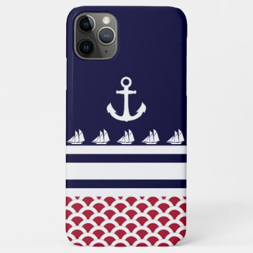 Blue | Red | White Nautical Stripes and Anchor iPhone 11 Pro Max Case