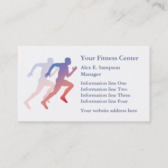 Blue Runner Fitness Business Template Business Card