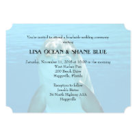 Blue Sea Underwater Dolphin Wedding Card