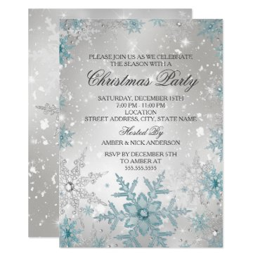 Blue & Silver Crystal Snowflake Christmas Party Invitation