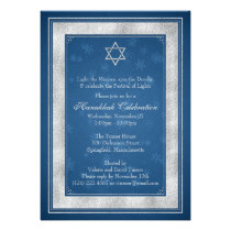 Blue Silver Snowflake Hanukkah Party Invitation