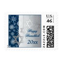 Blue Silver Snowflakes Happy Hanukkah Postage Stamp
