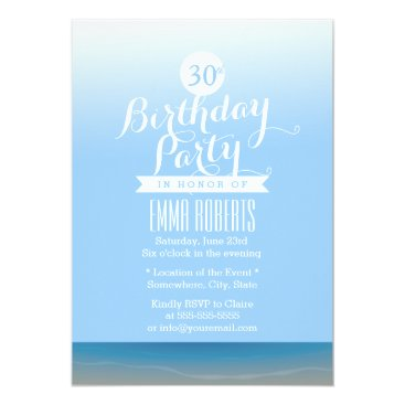 Blue Sky Beach Theme Birthday Party Card