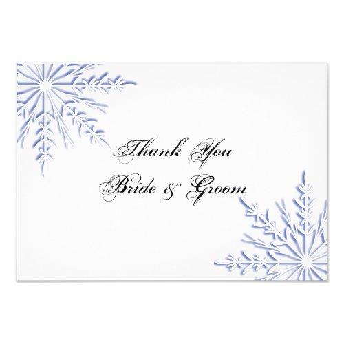 Blue Snowflakes Wedding Thank You Notes - Flat Invitation