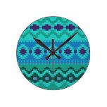 blue southwest pattern -  western abstract art round wallclocks