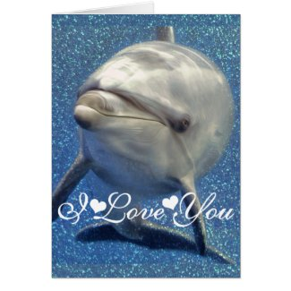 Blue Sparkle Dolphin Photo Image I Love You Card