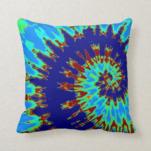 Blue Spiral Tie Dye Pillow