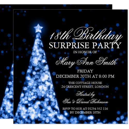 Blue Surprise 18th Birthday Christmas Lights Invitation