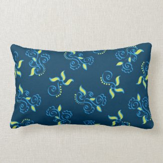 Blue swirls pattern throw pillow