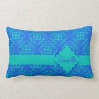 Blue & Turquoise Aqua Arabesque Moroccan Lumbar Pillow