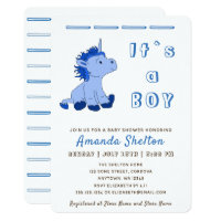 Blue Unicorn Baby Boy Shower Invitation Card